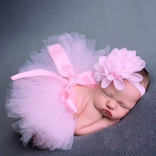 Newborn Photography Props Baby Tutu Skirt Pink Photo Props Headband Hat Set Fotografia Prop Suit for 1