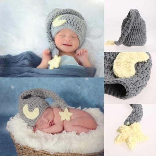 Newborn Photography Props Handmade Baby Girls Boys Crochet Knitted Soft Hat Beanie Cap Infant Photography Accessories