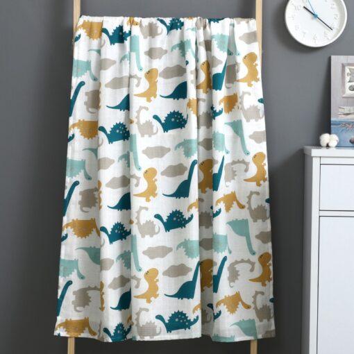 Newborn Swaddle Blanket Baby Two Layer Muslin 100 Cotton 110 120cm Soft Newborn Bath Gauze Infant 2