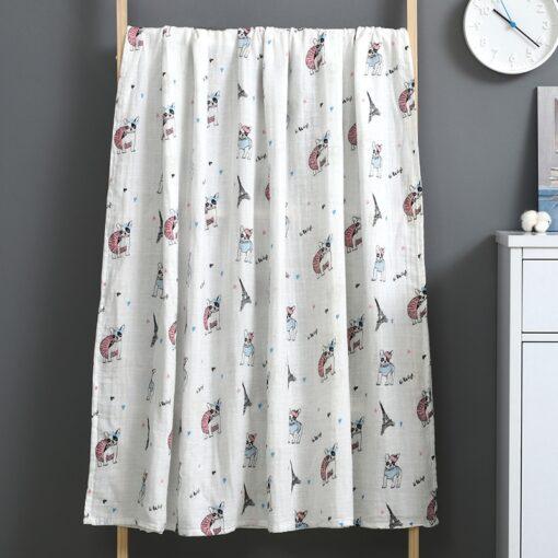 Newborn Swaddle Blanket Baby Two Layer Muslin 100 Cotton 110 120cm Soft Newborn Bath Gauze Infant 5