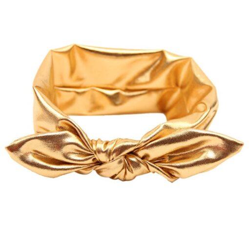 Newborn Toddler Baby Headband Golden Silver Solid Baby Kids Girls Bowknot Hairband Elastic HeadbandGirls Heawear Accessories 5