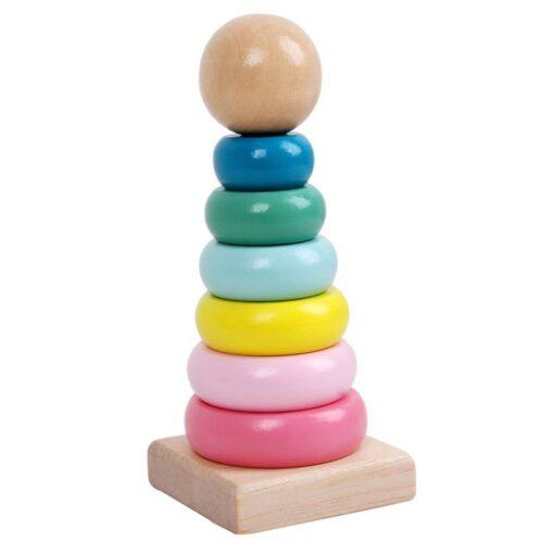 Newborn baby Early Education Toys Children Intellectual Development Puzzle Cartoon Wooden Blocks wooden tower brinquedos 4