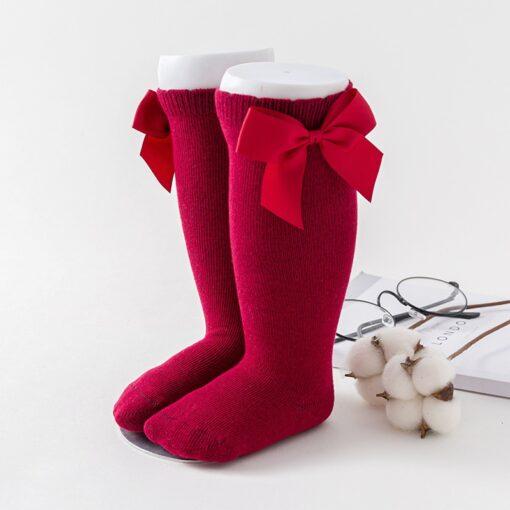 Newborn baby girls socks New Kids Socks Toddlers Girls Big Bow Knee High Long Soft Cotton 2