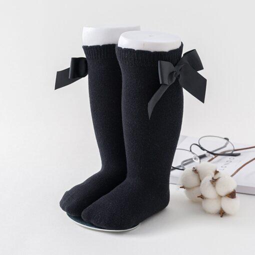 Newborn baby girls socks New Kids Socks Toddlers Girls Big Bow Knee High Long Soft Cotton 4