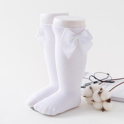 Newborn baby girls socks New Kids Socks Toddlers Girls Big Bow Knee High Long Soft Cotton 5