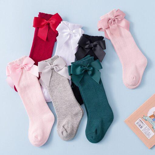 Newborn baby girls socks New Kids Socks Toddlers Girls Big Bow Knee High Long Soft Cotton