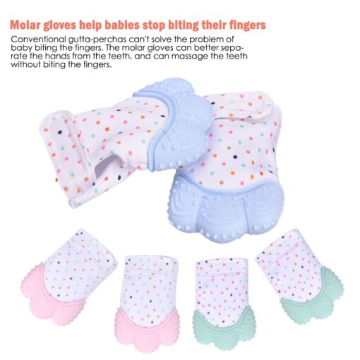Newborn baby silicone teether gloves Squeaky Grind Teeth Oral Care Teething Pain Silicone teether Relief Bite 1