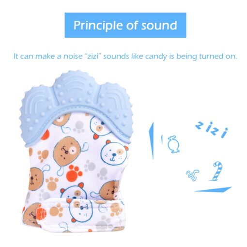 Newborn baby silicone teether gloves Squeaky Grind Teeth Oral Care Teething Pain Silicone teether Relief Bite 3