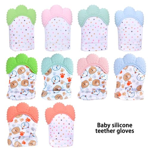 Newborn baby silicone teether gloves Squeaky Grind Teeth Oral Care Teething Pain Silicone teether Relief Bite