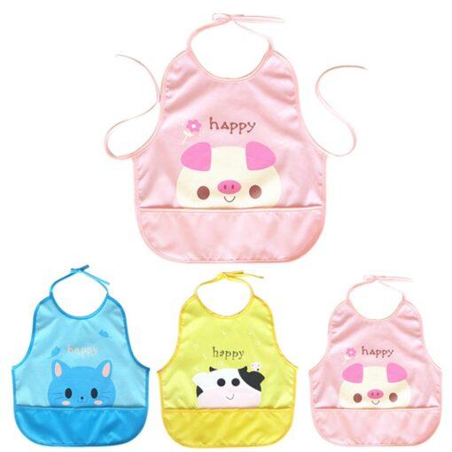 Newest Children Cartoon Waterproof Bib Soli Release Baby Pinny Girls Boys Saliva Towel Print Apron For 1