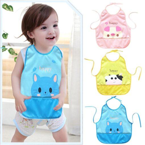 Newest Children Cartoon Waterproof Bib Soli Release Baby Pinny Girls Boys Saliva Towel Print Apron For