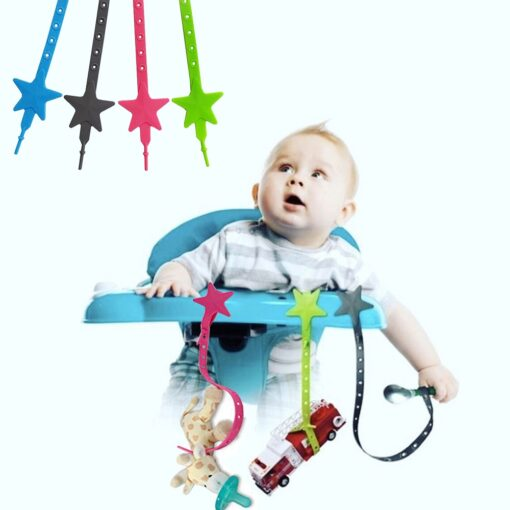 Non toxic Baby Star Pacifier Chain Strap Silicone Stroller Hook Baby Stroller Toy Holder for Infant 1