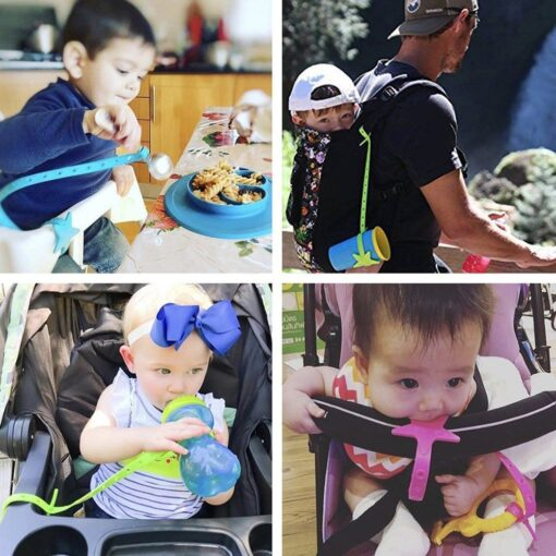 Non toxic Baby Star Pacifier Chain Strap Silicone Stroller Hook Baby Stroller Toy Holder for Infant 4