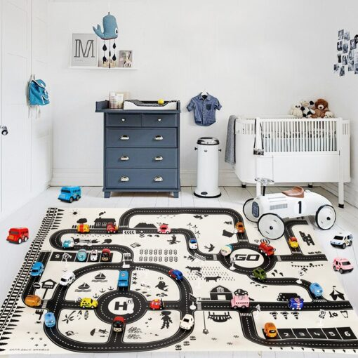 North European Style Kids Car City Scene Taffic Highway Map Play Mat Educational Toys For Children 2