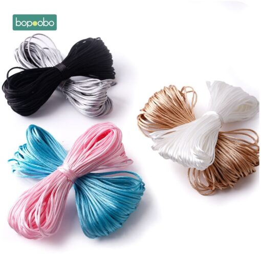 Nylon Rope 20M Lot Satin Cords 1mm DIY String Accessary Findings Baby Silicone Teething Plastic Clip 3