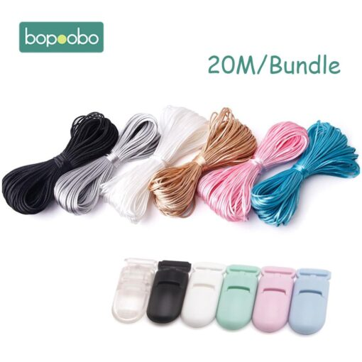 Nylon Rope 20M Lot Satin Cords 1mm DIY String Accessary Findings Baby Silicone Teething Plastic Clip