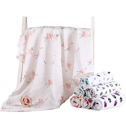 Organic Cotton Swaddle Blanket Flamingo Print Muslin Baby Blankets Infant Swaddle Towel For Newborns Baby Wrap 1