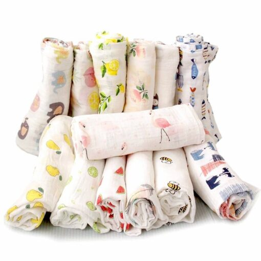 Organic Cotton Swaddle Blanket Flamingo Print Muslin Baby Blankets Infant Swaddle Towel For Newborns Baby Wrap