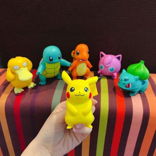Original Pokemon Pikachu Figures Dolls Cartoon Pok mon Squirtle Charmander Psyduck Purin Anime Model Toys Kids 2