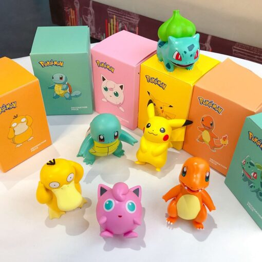 Original Pokemon Pikachu Figures Dolls Cartoon Pok mon Squirtle Charmander Psyduck Purin Anime Model Toys Kids 4