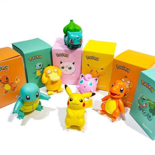 Original Pokemon Pikachu Figures Dolls Cartoon Pok mon Squirtle Charmander Psyduck Purin Anime Model Toys Kids 5
