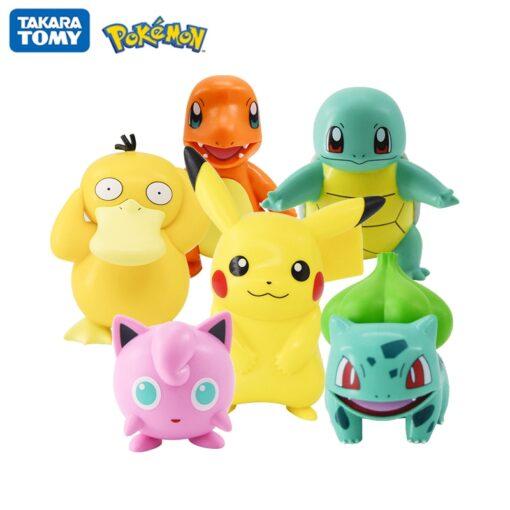 Original Pokemon Pikachu Figures Dolls Cartoon Pok mon Squirtle Charmander Psyduck Purin Anime Model Toys Kids