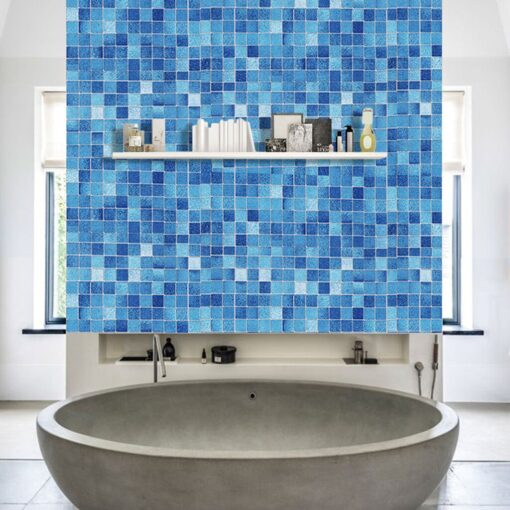 Original wall stickers bedroom Kitchen Oil Proof Blue Square Wallpaper Self adhesive Bathroom Bathroom Stickers 20JULY08 1