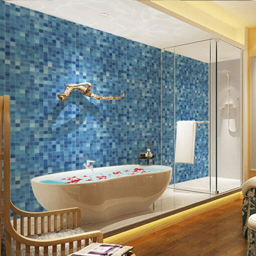 Original wall stickers bedroom Kitchen Oil Proof Blue Square Wallpaper Self adhesive Bathroom Bathroom Stickers 20JULY08 2