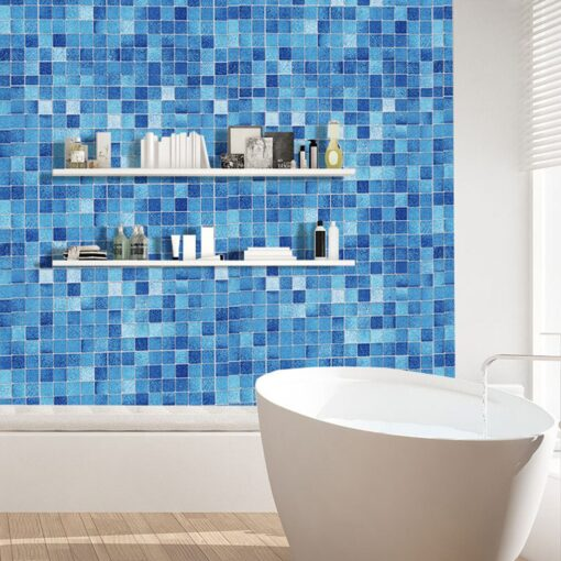 Original wall stickers bedroom Kitchen Oil Proof Blue Square Wallpaper Self adhesive Bathroom Bathroom Stickers 20JULY08 3