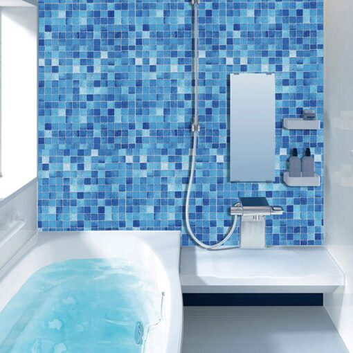 Original wall stickers bedroom Kitchen Oil Proof Blue Square Wallpaper Self adhesive Bathroom Bathroom Stickers 20JULY08