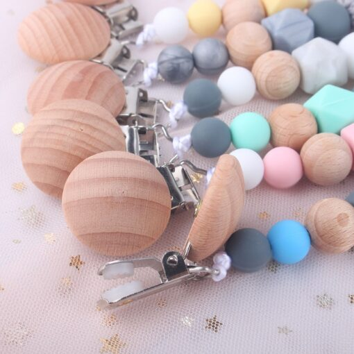 Pacifier Clip Baby Silicone Teething Beads Paci Holder Soothie Clips Teether Toy Chewbeads Baby Birthday Shower 5