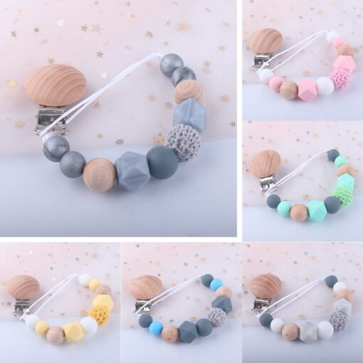 Pacifier Clip Baby Silicone Teething Beads Paci Holder Soothie Clips Teether Toy Chewbeads Baby Birthday Shower