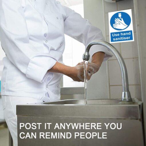 Please Use Hand Sanitiser Please Sign Notice Sticker Office Restaurant Cafe s Bathroom Decoration Sticker 150mm 1