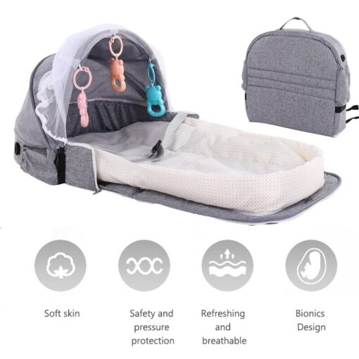Portable Baby Bed Folding Baby Bed Nest Cot For Travel Foldable Bed Bag With Mosquito Net 5