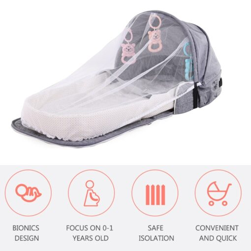 Portable Baby Bed for Newborns Foldable Baby Nest with Travel Sun Protection Mosquito Net Infant Sleeping 1