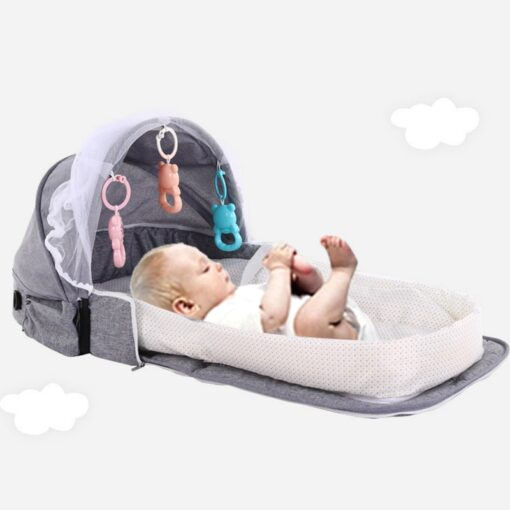 Portable Baby Bed for Newborns Foldable Baby Nest with Travel Sun Protection Mosquito Net Infant Sleeping 4