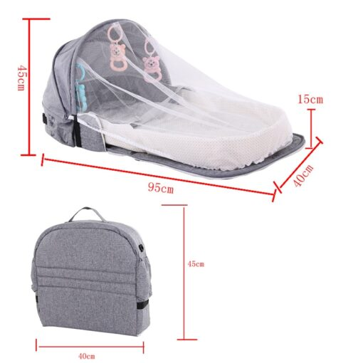 Portable Baby Bed for Newborns Foldable Baby Nest with Travel Sun Protection Mosquito Net Infant Sleeping 5