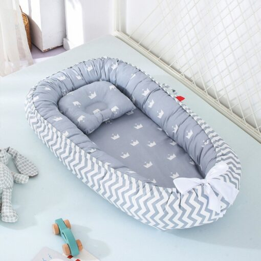 Portable Baby Crib Children s Cotton Cradle Folding Newborns Traveling Cots Striped Printed Child Lounger Bed 1