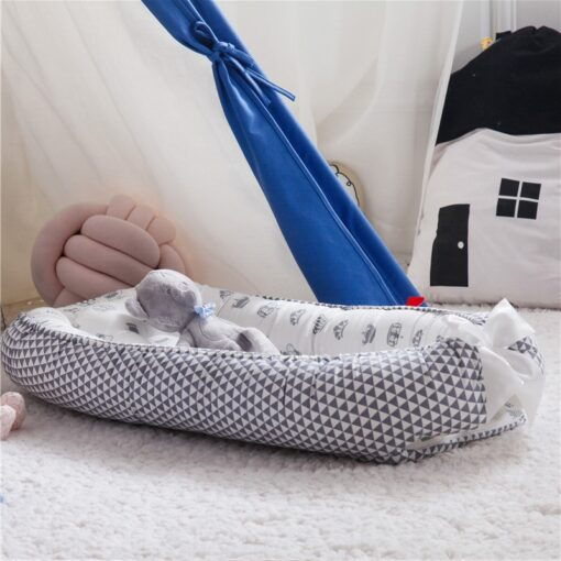 Portable Baby Crib Children s Cotton Cradle Folding Newborns Traveling Cots Striped Printed Child Lounger Bed 2