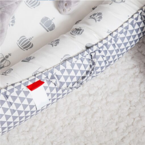 Portable Baby Crib Children s Cotton Cradle Folding Newborns Traveling Cots Striped Printed Child Lounger Bed 3