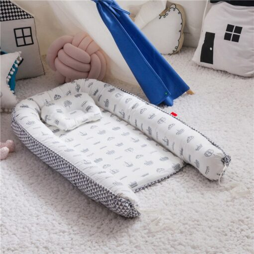 Portable Baby Crib Children s Cotton Cradle Folding Newborns Traveling Cots Striped Printed Child Lounger Bed 4