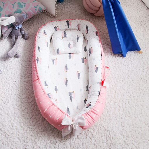 Portable Baby Crib Children s Cotton Cradle Folding Newborns Traveling Cots Striped Printed Child Lounger Bed