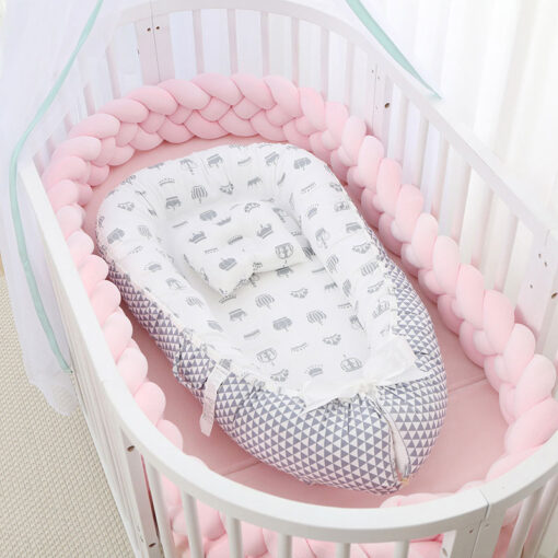 Portable Baby Nest Bed with Pillow Babybest Crib Travel Bed Infant Toddler Cotton Cradle for Newborn