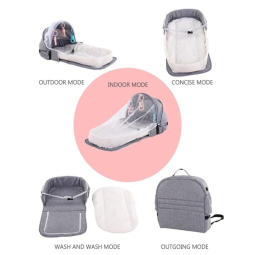 Portable Bed Foldable Baby Bed Travel Sun Protection Mosquito Net Breathable Soft Cribs Infant Sleeping Basket 2