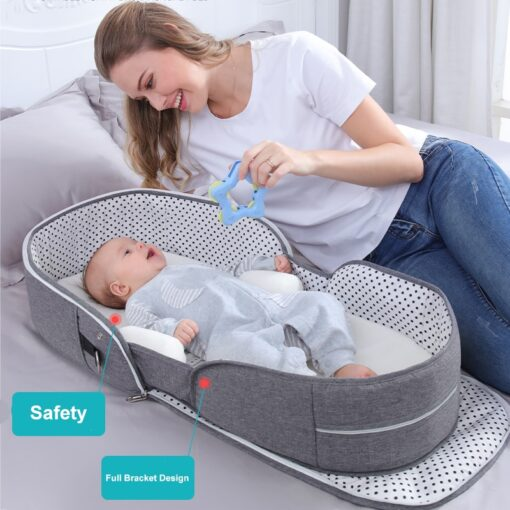 Portable Cribs For Baby Bed Breathable Portable Sleeping Baby Bed Crib For Baby Multi Function Travel 2