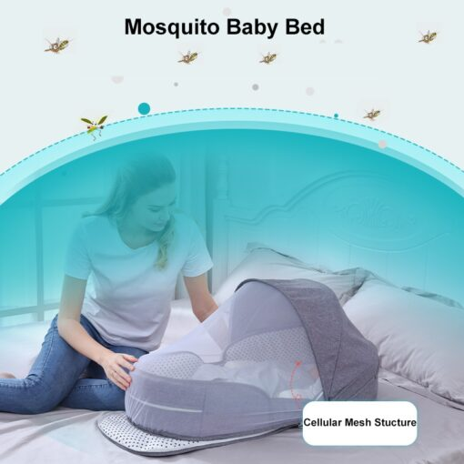 Portable Cribs For Baby Bed Breathable Portable Sleeping Baby Bed Crib For Baby Multi Function Travel 3