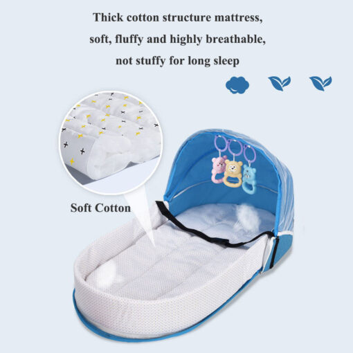 Portable Travel Baby Nest Multi function Baby Bed Crib with Mosquito Net Foldable Babynest Bassinet Infant 3