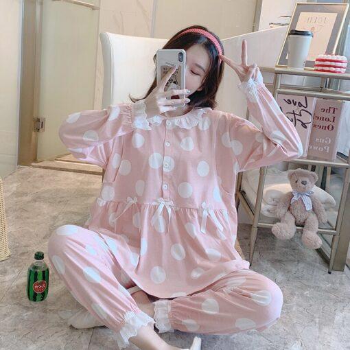 Pregnant Women Postpartum Nursing Cotton Pajamas Set Autumn Long Sleeve Peter Pan Collar Breastfeeding Shirts Long 1