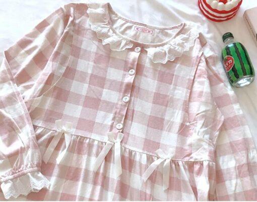 Pregnant Women Postpartum Nursing Cotton Pajamas Set Autumn Long Sleeve Peter Pan Collar Breastfeeding Shirts Long 3