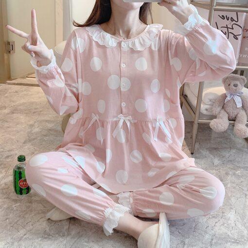 Pregnant Women Postpartum Nursing Cotton Pajamas Set Autumn Long Sleeve Peter Pan Collar Breastfeeding Shirts Long